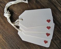 4 CrossStitch Heart Gift Tags by LeobellaBoutique on Etsy, $8.00