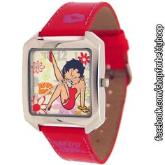Betty Boop Women's Fashion Red Resin Watch GO TO: https://www.facebook.com/shopforbettyboop/photos/pb.1417958681841914.-2207520000.1443410274./1471904123114036/?type=3&theater • Red Faux Leather band - #Vegan