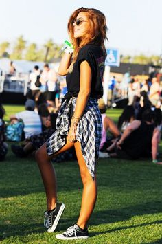Rock Chic Coachella Festival Outfit | Plaid Check Tartan Shirt Denim Shorts Band Tee & Converse Trainers Sneakers