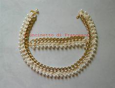 Purure colla e braccile lavorati all'uncinetto su catena e perle by L'uncinetto di Francesca