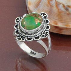 NEW 925 STERLING SILVER GREEN COPPER TURQUOISE RING 4.43g DJR5440 #Handmade #Ring