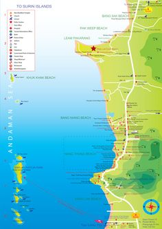 Free Map of Khao Lak area and Khao Lak surrounding. Where to go and how to find your way in Khao Lak. Best Khao Lak map available at Khao Lak Explorer. Khao Lak Beach, Ao Nang Beach, Railay Beach, Phuket, Lamai Beach, Beach Cocktails, Best Scuba Diving, Station Balnéaire, Area Map