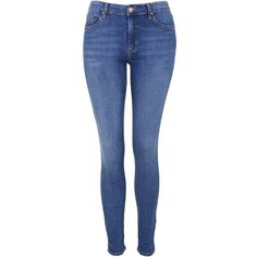 TOPSHOP MOTO Mid Blue Leigh Jeans ($65) ❤ liked on Polyvore featuring jeans, mid stone, button fly jeans, topshop, 5 pocket jeans, denim skinny jeans and blue jeans