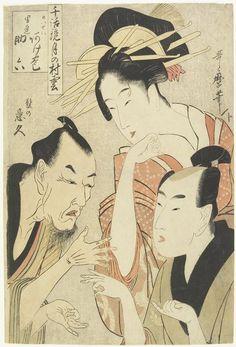 Kitagawa Utamaro: The Courtesan Agemaki, the Chivalrous Guy Sukeroku, Ikyu with Beard - Minneapolis Institute of Arts