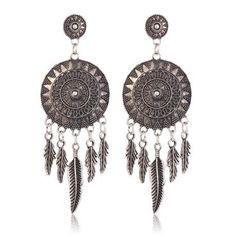 """Be a dreamer, a doer, a believer that anything is possible"""" Who doesn't love dream catchers? girls, get your self a pair of these beautiful Dream Catcher Earrings. Available in metallic silver colour Material Type: Alloy, Zinc Size: 8.2 x 2.8 cm Trust me, you'll love it..!!"""