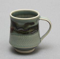 Wheelthrown Porcelain Mug with Celadon Red Temoku by hsinchuen, $40.00