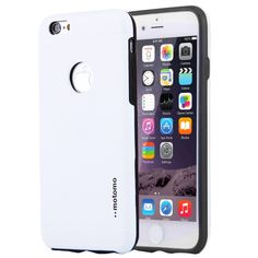 [$1.53] MOTOMO for iPhone 6 & 6s Brushed Texture Metal + TPU Protective Case(White)