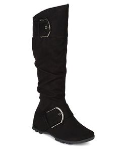4f91d3c5a903 Soda BH28 Women Suede Slouchy Buckle Strap Wedge Treaded Mid Calf Riding  Boot - Black