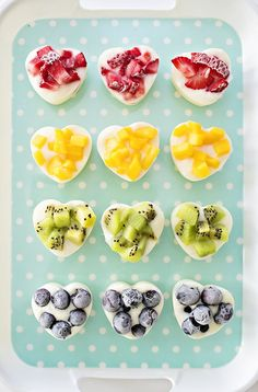 Rainbow Frozen Fruit Yogurt Hearts. Healthy, yummy and easy kid snack. Healthy Valentine treat or for any occasion!