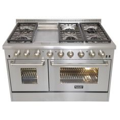 Kucht Pro-Style 48 in. 6.7 cu. ft. Dual Fuel Range with Sealed Burners, Griddle and Convection Oven in Stainless Steel-KRD486F - The Home Depot