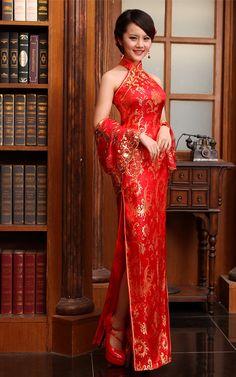 Mandarin collar gold phoenix tail red brocade halter cheongsam wedding dress | Modern Qipao