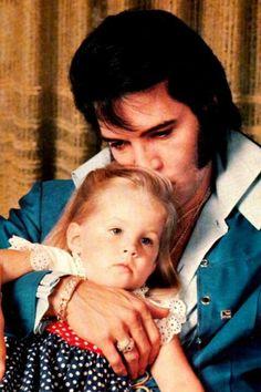 Awwww <3   Little Lisa Marie on daddy's lap.   #elvisserendipity
