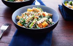 Roasted Butternut Squash and Swiss Chard with Fusilli Recipe - the flavors of fall inspired this dish made with pan-roasted butternut squash, wilted Swiss Chard, fresh sage and parmesan cheese.