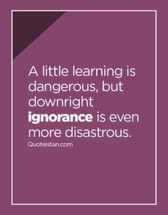 A little learning is dangerous, but downright ignorance is even more disastrous. Ignorance Quotes, Being Ignored Quotes, Favorite Quotes, Quotations, Me Quotes, Inspirational Quotes, Sayings, Learning, Words