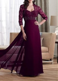 Amazing Chiffon Sweetheart Neckline A-line Mother of the Bride Dress With Beading & Rhinestones & Lace Appliques Decoration
