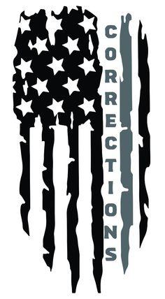Corrections Officer Tattered Flag Decal - White Vinyl