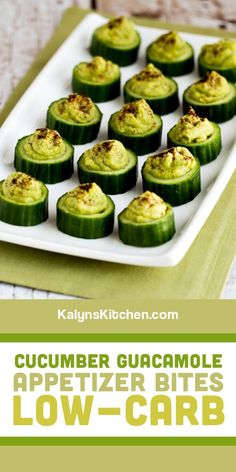 Cucumber Guacamole Appetizer Bites are easy to make, fun to nibble on, and these little appetizer bites of guacamole goodness also also low in carbs! [found on KalynsKitchen.com] #CucumberGuacamoleBites #CucumberGuacamoleAppetizer #LowCarbAppetizerBites