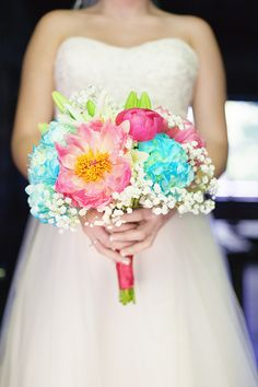 Coral and Turquoise Summer Wedding|Photographer:  Bellamanda Photography