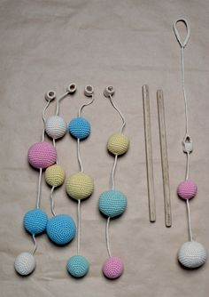 Crochet Pastel Baby Mobile Colorful Ball by YarnBallStories