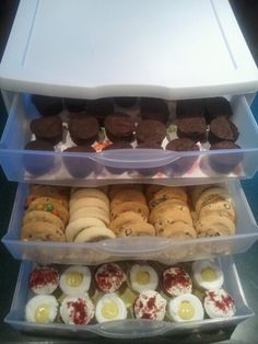 """""""Dessert Drawers"""" can be easily transported and kept closed. Great for picnics to keep the flies off the goodies or to conserve space in the fridge before the party. AWESOMENESS!!!"""