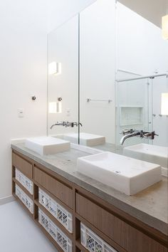 Cool Contemporary House Inspiration from Brasilia: Bright Bathroom Interior Featured With Floating Wooden Vanity With Above Mount Sinks And . Cheap Countertops, Laminate Countertops, Bathroom Countertops, Concrete Countertops, Cement Counter, Concrete Bathroom, Revere Pewter, Contemporary Bathrooms, Modern Bathroom