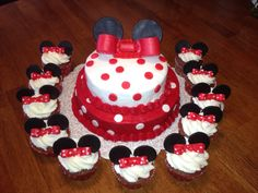 I made this Minnie Mouse cake and cupcakes for my daughter's 2nd birthday.