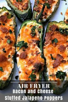 Easy Air Fryer Bacon and Cream Cheese Stuffed Jalapeno Poppers is a quick spicy recipe. These poppers are low-carb and keto diet friendly. This dish has savory and creamy melted cheddar cheese and is also crunchy. Makes the perfect appetizer or snack for Jalapeno Relish, Bacon Jalapeno Poppers, Air Fryer Oven Recipes, Air Fryer Dinner Recipes, Spicy Recipes, Appetizer Recipes, Keto Recipes, Appetizers, Jalapeno Recipes