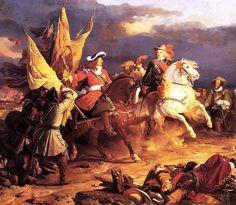 Quadre de La Batalla de Villaviciosa, la qual es va produir el 10 de desembre de 1710, amb resultat incert, durant la Guerra de Successió espanyola. Hi surt el Duc de Vendôme i Felip V, i és fet pel pintor Jean Alaux. Exposat a Versalles. https://ca.wikipedia.org/wiki/Batalla_de_Villaviciosa_de_Tajuña