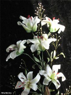 Beautiful ribbon embroidery lilies