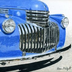 This Realism Still life Street Scape Transportation Vintage, Drawing paper, Coloured Pencils painting was produced by Alison Philpott. Jeep Pickup Truck, Classic Pickup Trucks, Truck Camper, Chevy Trucks, Toyota Tacoma Trd, Truck Storage, Chevy Pickups, Lifted Trucks, Pick Up