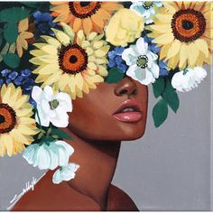 Gazing at Lebanese American artist Sally K's floral portrait is consuming and empowering. Inspired by strong, feminine women, she creates pop-reali. Diy Canvas Art, Abstract Canvas, 3 Canvas Painting Ideas, Acrylic Painting Canvas, Black Art Painting, Poster Color Painting, Woman Painting, Arte Floral, Portrait Art