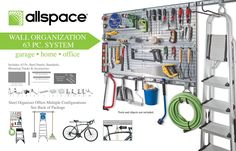 63 Piece Utility Wall Panel Board and Accessory Set - Allspace