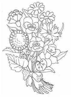 Realistic Bouquet Of Flowers In Vase Coloring Page For Kids Flower