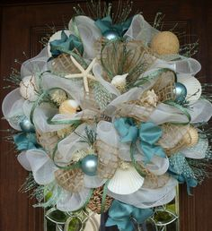 Deco Mesh SHABBY CHIC BEACH Wreath by decoglitz on Etsy