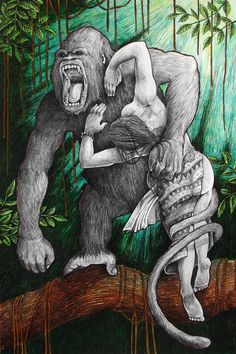 Ikugan- Philippine folklore: fierce ape-elf-giants. They were gray and lived in the forest canopy.