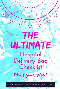 Ultimate Hospital Delivery Bag Checklist- Did you think to pack an extension cord to charge your phone? Vibrant Hospital Delivery Bag Checklist with those often forgotten items. Click to download and print yours now!