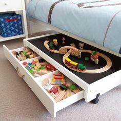 toy organization: under bed storage
