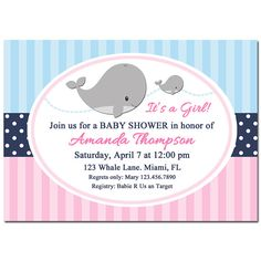 Girl Whale Invitation Printable or Printed with by ThatPartyChick Candy Bar Labels, Drink Labels, Name Banners, Backdrops For Parties, Party Signs, For Your Party, Kid Names, Favor Tags