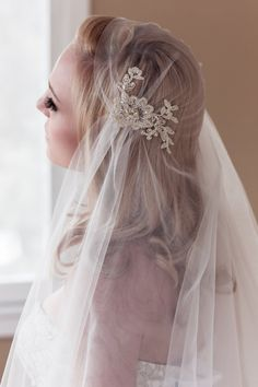 A romantic veil with Alencon lace.