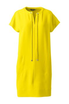 Short Sleeve Woven Slit Neck Tee Dress is relaxed but the vibrant yellow makes it super perfect foe summer at the office with some navy accessories