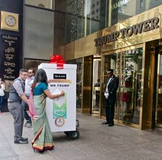 """They travelled all the way from Kolkata to New York City to deliver the tea bags right to the doorsteps of Trump Towers. 