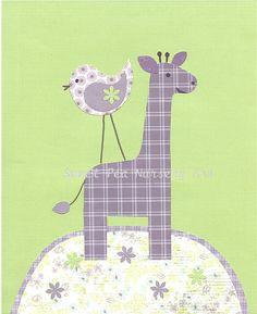 Baby Girl Nursery Art Print Giraffe Nursery by SweetPeaNurseryArt, $15.00