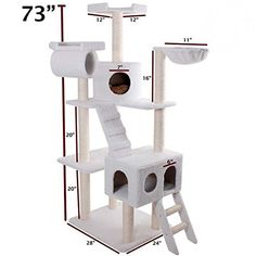 Majestic cat Products 73 inch Cream Bungalow Cat Furniture Condo House Scratcher Multi Level cat Activity Tree >>> See this great image  : Cat Beds and Furniture