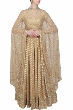 Beige and gold gota patti lace lehenga and blouse set available only at Pernia's…