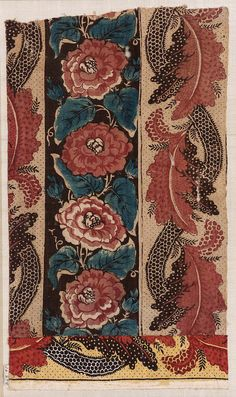 Broad white and brownish-black stripes. On the white stripes are red roses with blue leaves and buds. The white stripe is covered with black dots and has an undulati … Textile Patterns, Textile Design, Fabric Design, Print Patterns, Vintage Textiles, Antique Prints, Motif Floral, Floral Prints, Chintz Fabric