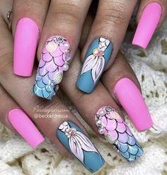 (credits to the artist) unhas unicórnio, unhas foscas, Little Mermaid Nails, Mermaid Nail Art, Acrylic Nail Designs, Nail Art Designs, Nails Design, Cute Nails, Pretty Nails, Linda Nails, Unicorn Nail Art