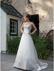 Satin Sweetheart Ornately Hand-Beaded Bodice A-line Wedding Dress