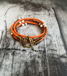 Triple  leather and seed beads  bracelet, , braided leather bracelet, bracelet, bracelets,bracelets for women,love bracelet