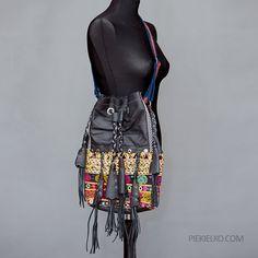 Ethnic black or brown-red leather handbag by PiekielkoEtnoJewelry