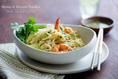 Shrimp and Avocado Noodle Salad with Creamy Ginger Vinaigrette from @Diane Cu (White On Rice Couple)